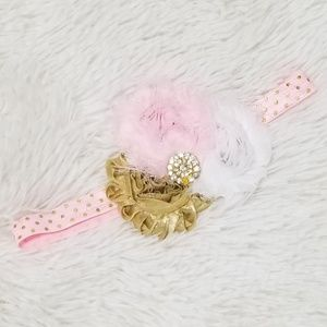Other - Pink and Gold Baby Toddler Birthday Headband Bow